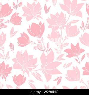 Magnolia rosa Blumen nahtlose Vektor Muster, Sträuße in der Blüte. Schöne Inneneinrichtung und Innenarchitektur. Floralen Silhouetten. Spring Blossom Tapete. Wildblumen Tapeten in Pastellfarben - Stockfoto