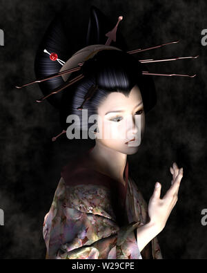 Schöne junge Japanerin mit schattigen Beleuchtung - Stockfoto