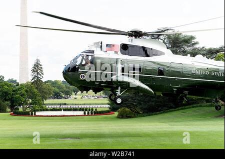 Washington, United States. 07 Juli, 2019. Marine ein Hubschrauber Rückkehr zum Weißen Haus mit Präsident Donald Trump und First Lady Melania Trump in Washington, DC. Credit: SOPA Images Limited/Alamy leben Nachrichten - Stockfoto