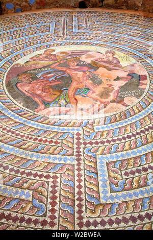 Mosaiken im Haus des Theseus, Kato Pathos Archäologischen Park, Pathos, Zypern, Östliches Mittelmeer - Stockfoto