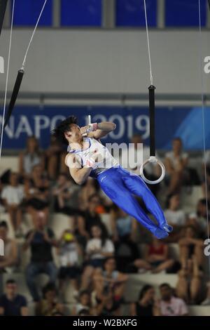 Kazuma Kaya von Japan während der 30 Sommer Universiade 2019 Napoli Herren Ringe an Palavesuvio, Napoli, Italien am 7. Juli 2019. Quelle: LBA SPORT/Alamy leben Nachrichten - Stockfoto