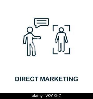 Direct Marketing outline Symbol. Thin Line Konzept Element aus Inhalt icons Collection. Creative Direct Marketing Symbol für mobile Apps und Internetnutzung. - Stockfoto