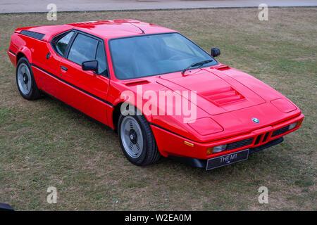Rot BMW M1 Sportwagen in Goodwood Festival der Geschwindigkeit 2019 - Stockfoto