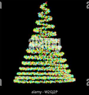 Eine abstrct Spirale der sphärischen bunte Lichter, die die Form eines traditionellen Weihnachtsbaum auf einem isolierten schwarzen Hintergrund - 3D-Rendering - Stockfoto