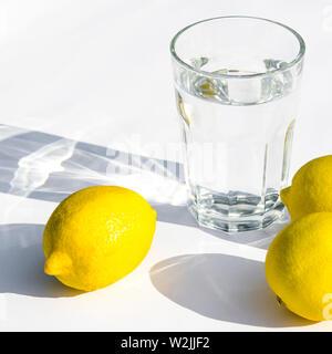 Zitronen, frische grüne Minze und ein Glas mit Wasser auf weißem Hintergrund - Stockfoto