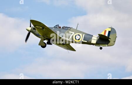 Hawker Sea Hurricane 1941 1 B Airborne bei Shuttleworth militärische Airshow am 7. Juli 2019 - Stockfoto