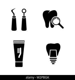 Dental. Einfache ergänzende Vector Icons Set für Video, Mobile Anwendungen, Websites, Print Projekte und ihre Gestaltung. Schwarz Abbildung auf weißem Hintergrund - Stockfoto