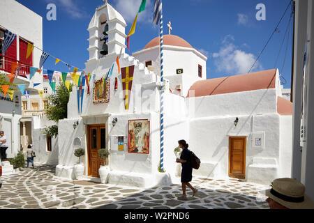 Mykonos, griechische Insel Mikonos, Teil der Kykladen, Griechenland. Agia Kyriaki Kirche im Souk Bereich - Stockfoto