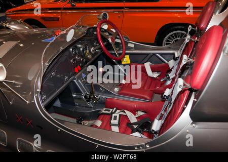 Nahaufnahme der Cockpit der Bentley MkV 1' Gibbs Special' Sport Two-Seater Gibbs Bentley Special auf Anzeige an der 2019 London Classic Car Show - Stockfoto