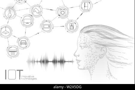 Virtual Assistant Spracherkennung service Technologie. AI künstliche Intelligenz Roboter unterstützen. Chatbot junges Mädchen Gesicht Low Poly Vector Illustration - Stockfoto