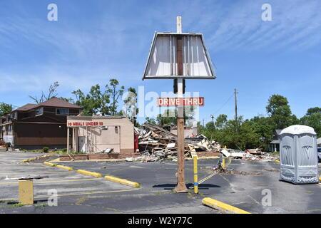 Tornado Schäden, die am 27. Mai 2019 in der Nähe von Dayton, Ohio ist aufgetreten - Stockfoto