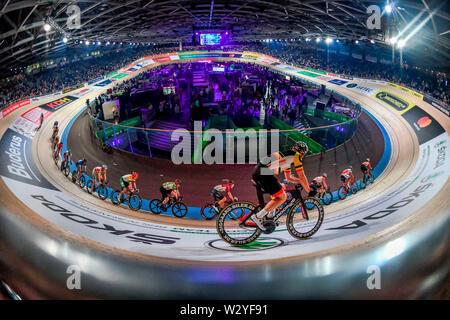 Sixdays Berlin 2019, 4. Tag. Sonntag 27.01.2019, 7,5 km Punktefahren, Velodrom, Prenzlauer Berg, Berlin, Deutschland - Stockfoto