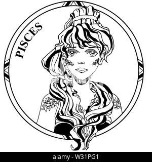 Vector Illustration von Zeichen Sternzeichen Fische. Schöne Mädchen mit langen Haaren Schwanz in runden Rahmen. Line Art. Illustration für die Färbung. - Stockfoto