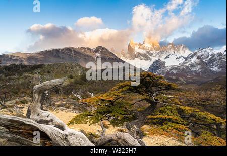 Fitz Roy Berg im Nationalpark Los Glaciares, El Chalten, Patagonien, Argentinien. - Stockfoto