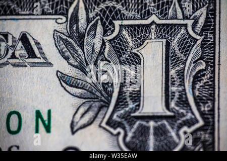 Makrofotografie auf alten 1 Dollar Bill - Stockfoto