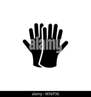 Schutzhülle aus Gummi Handschuhe. Flache Vektor Icon. Einfach schwarzes Symbol auf weißem Hintergrund - Stockfoto