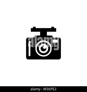 Auto DVR. Auto Digital Video Recorder. Flache Vektor Icon. Einfach schwarzes Symbol auf weißem Hintergrund - Stockfoto
