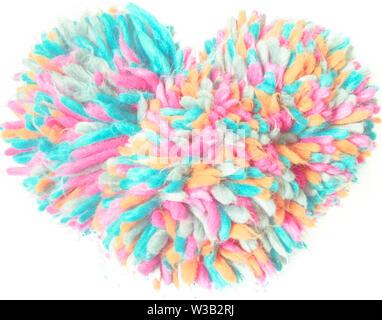 Valentinstag bunte flauschige Fell Herz - Stockfoto