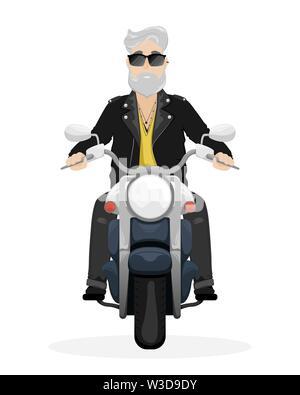Ein Mann mit grauem Haar und Bart auf einem Motorrad. Ein Mann in der Sonnenbrille und Lederjacke. Flache vektor Cartoon Illustration - Stockfoto