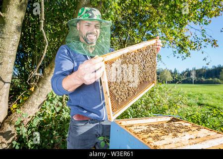 Portrait der männlichen beekeper mit bienenkorb - Stockfoto