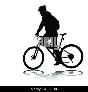 Mann reiten Fahrrad Silhouette-Vektor - Stockfoto