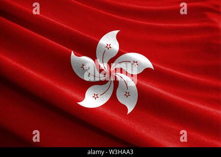 Realistische Flagge von Hongkong über die gewellte Oberfläche des Gewebes - Stockfoto