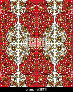 Holzschnitt gedruckt Nahtlose floral ethnische Muster. Traditionelle orientalische Ornament von Indien, Flower Garland Motiv-, Orange-, Rot- und Grüntönen auf ecru Ba - Stockfoto