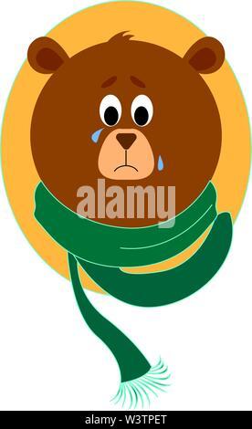 Traurige Bär mit Schal, Illustration, Vektor auf weißem Hintergrund. - Stockfoto