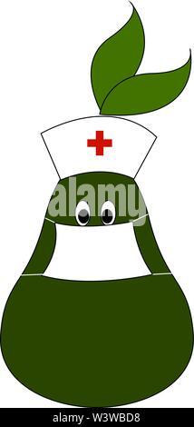 Arzt Birne, Illustration, Vektor auf weißem Hintergrund. - Stockfoto