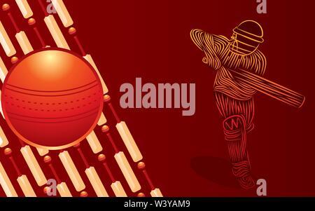 Abbildung: Team spielen Cricket Sport poster Design Vector - Stockfoto