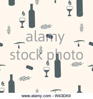 Weinflaschen und Gläser schwarze Silhouette auf beigen Hintergrund nahtlose Muster. Abbildung. - Stockfoto
