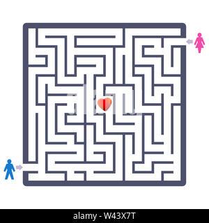 Liebe Paar Labyrinth mit Herzen in der Mitte. Finden Sie Ihre Partner Spaß Spiel-und symbolischen Therapeutikum über Partner suchen oder Partner - Stockfoto