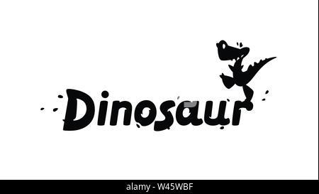 Logo der Cartoon Dinosaurier. Vector Illustration. Kinder- Bild des Drachen. Das Bild ist auf weißem Hintergrund. Symbol, Emblem für Kinder- - Stockfoto