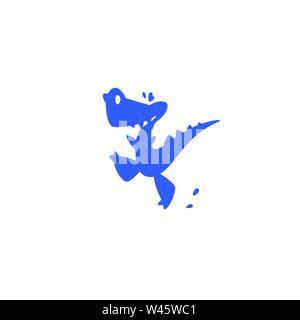 Abbildung: Ein kleiner cartoon Dinosaurier. Vector Illustration. Kinder das Logo der Dinosaurier. Das Bild ist auf weißem Hintergrund. Logo, Emblem für den c - Stockfoto