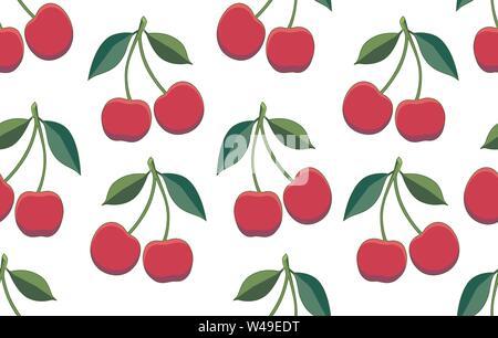 Kirsche. Vektor nahtlose Muster mit zwei isolierten Kirschen auf einem weißen Hintergrund wiederholt. Endlose Textur. Positive Dekoration für Cafe, Bar, Obst - Stockfoto