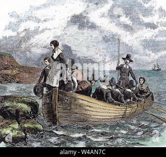 PILGRIM FATHERS, Landung in Provincetown Hafen im November 1620 - Stockfoto
