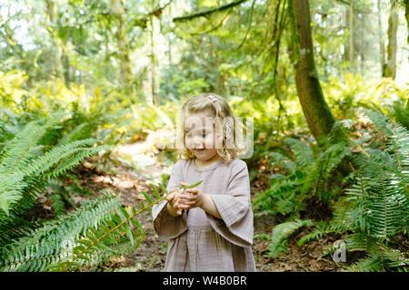 Porträt eines jungen Mädchens, das mit einem Farn auf einer Wanderung - Stockfoto