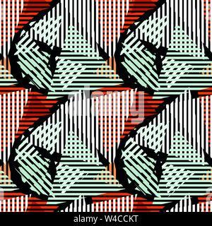 Farbige Linien Graffiti Muster auf einem schwarzen Hintergrund Vector Illustration - Stockfoto