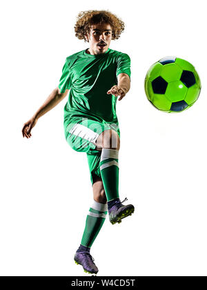 Einem gemischten Rennen junger Teenager Fußballspieler Mann spielt in Silhouette auf weißem Hintergrund - Stockfoto
