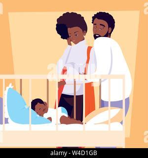 Eltern afro Beobachtung von baby boy schlafen Vector Illustration Design - Stockfoto