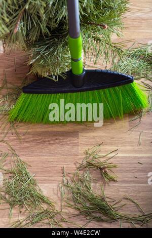 Zerbröckelt Nadeln vom Weihnachtsbaum auf dem Boden. Konzept, das auf das Ende der Ferien- und Reinigung, nachdem die Gäste - Stockfoto