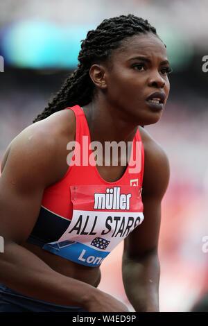 Schillonie CALVERT - Powell (Jamaika) Läufer der letzten Etappe für die All Stars in der Frauen 4x100m Staffel finale bei den 2019, IAAF Diamond League, Jubiläum Spiele, Queen Elizabeth Olympic Park, Stratford, London - Stockfoto