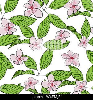 Nahtlose Hand gezeichnet Cherry Blossom vektor Muster. Rosa Blumen und grüne Blätter mit Überblick auf weißem Hintergrund. Tapeten, Textilien, Print Design - Stockfoto
