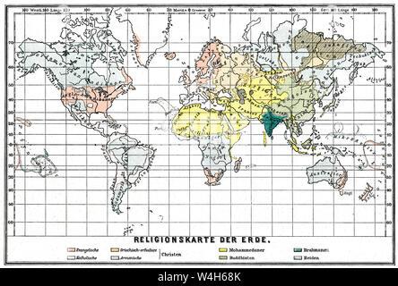 Religionen Karte der Welt, 19. Jahrhundert