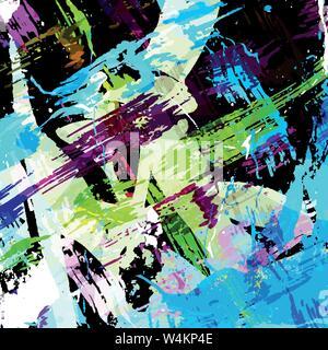 Schöne farbige Linien Graffiti auf einem schwarzen Hintergrund Vector Illustration - Stockfoto