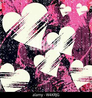 Weiß Herz und grunge Textur abstraktes Muster Graffiti - Stockfoto