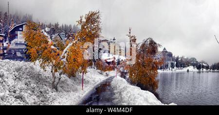 Malerischer Herbst anzeigen Mit dem ersten Schnee auf der nassen Straße in die Berge, die Bäume und den Wald im Schnee und Raureif auf dem Hintergrund einer overcas - Stockfoto