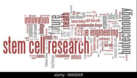 Die Stammzellenforschung soziale Themen und Konzepte Wort cloud Abbildung. Wort collage Konzept. - Stockfoto