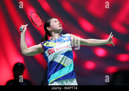 Tokio, Japan. 24. Juli, 2019. Ayaka Takahashi (JPN) Badminton: Daihatsu Yonex Japan Open 2019 Women's Doubles an der Musashino Wald Sport Plaza in Tokio, Japan. Credit: yohei Osada/LBA SPORT/Alamy leben Nachrichten - Stockfoto