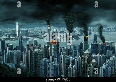 Abbildung: fiktiven Zerstörung der chaotischen Hong Kong Skyline der Stadt mit Feuer, Explosion. Konzept der Unruhen, Krieg, Naturkatastrophen, der Tag des jüngsten Gerichts, Feuer,